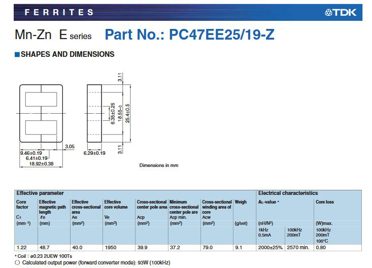 Datasheet of Core EE25 for SMPS Transformer