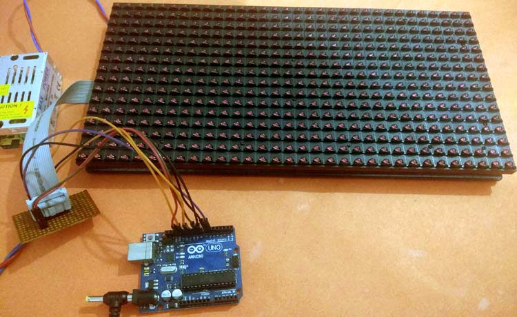 Digital Notice Board using P10 LED Matrix Display and Arduino Setup