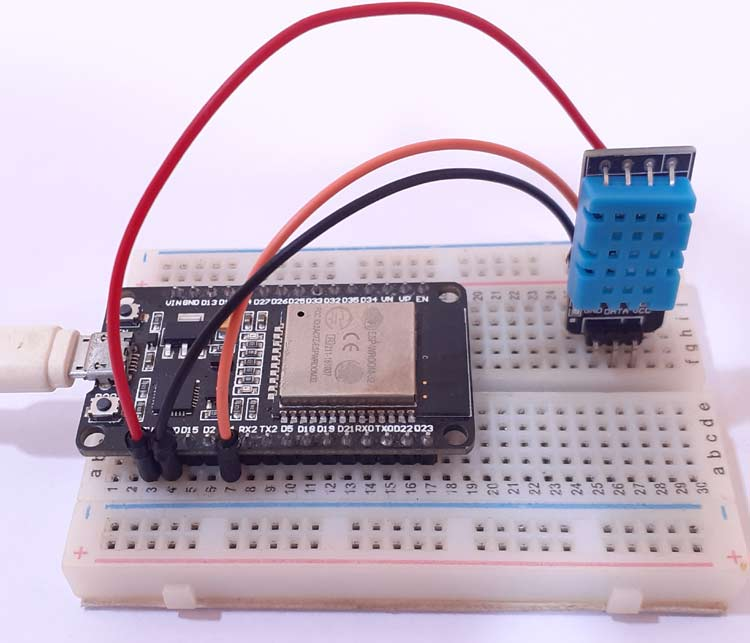 IoT based Temperature and Humidity measurement using ESP32 and DHT11 Sensor