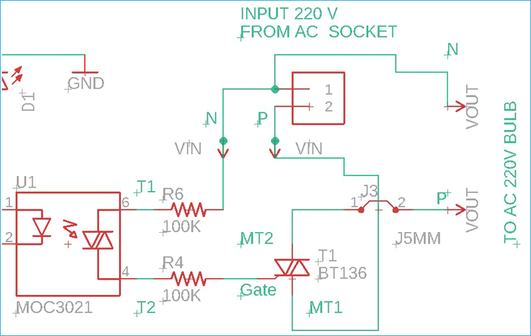 MOC3021 and TRAIAC Connection Circuit Diagram