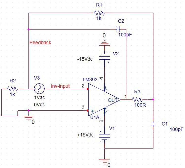Op Amp Simulation Circuit With Frequency Compensation