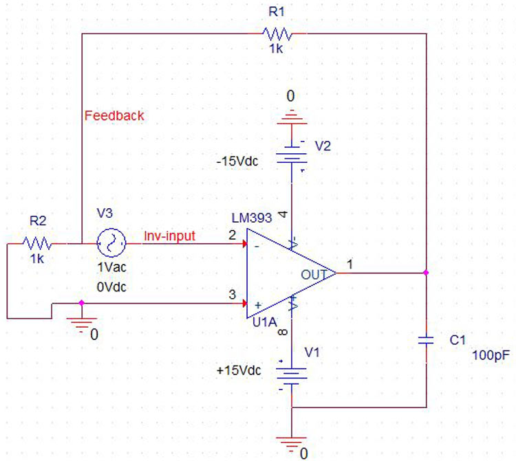 Op Amp Simulation Circuit Without Frequency Compensation