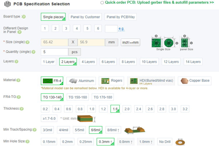 Ordering PCB from PCBWAY