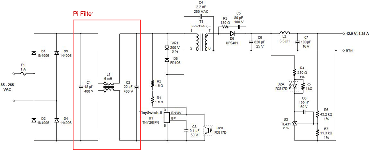 PI Filter Power Supply Circuit