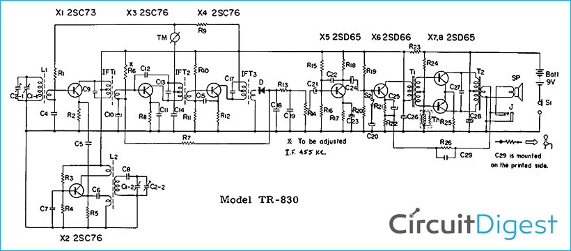 Superheterodyne AM Receiver Circuit Diagram