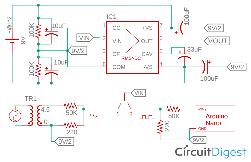 True RMS Converter using IC AD736 Schematic