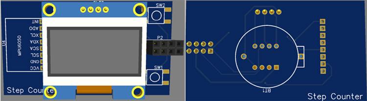 Attiny85 Step Counter PCB