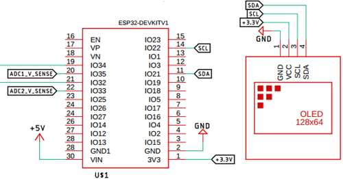 ESP32 IC and the OLED Display