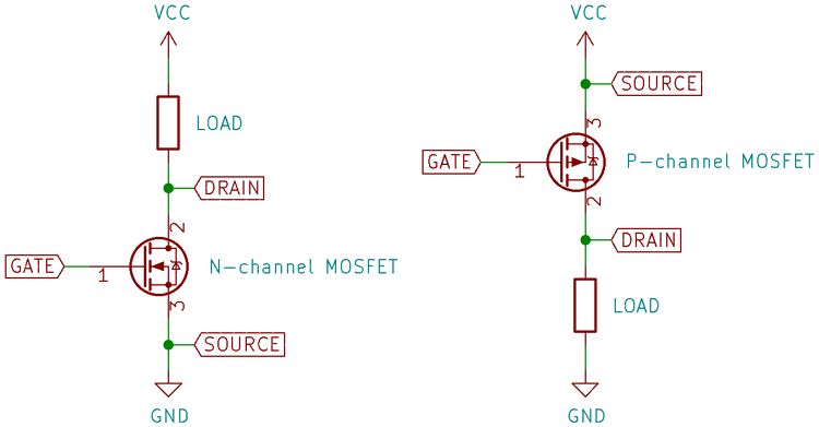 N- and P-Channel MOSFET Switching Configuration