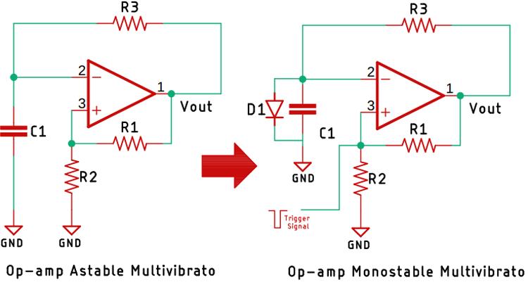 Op Amp Monostable Multivibrator