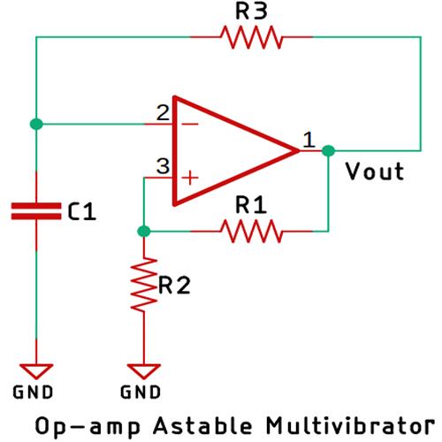 Op amp Astable Multivibrator Circuit