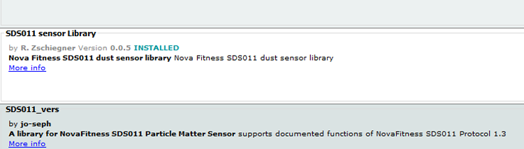 SDS Sensor library by R. Zschiegner