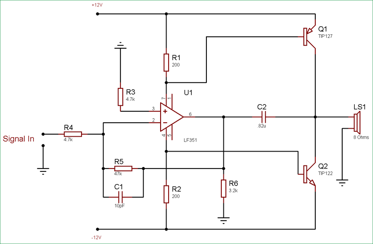 10 watt audio amplifier circuit diagram using op amp and power10 watt audio amplifier circuit using op amp and power transistors