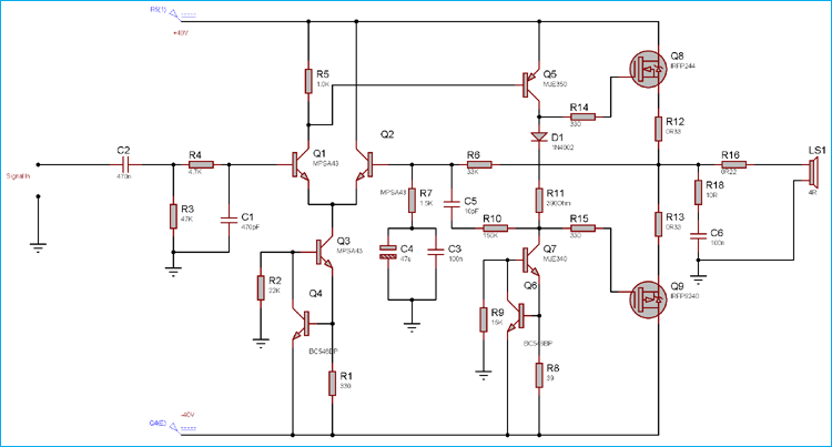 100 Watt Power Amplifier Circuit Diagram using MOSFET