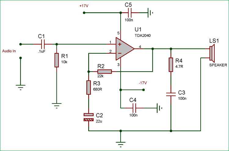 25 Watt Audio Amplifier Circuit using TDA2040