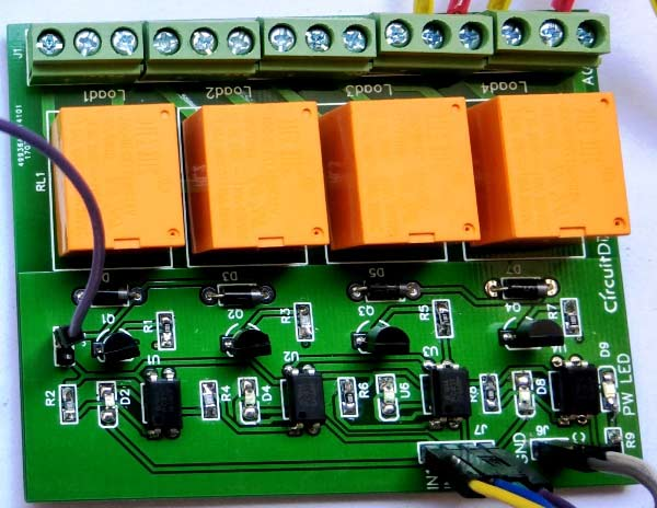 4-Channel Relay Driver Circuit Diagram on PCB