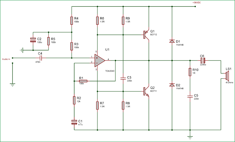 40 Watt Audio Amplifier using TDA2040 and Transistor Pair