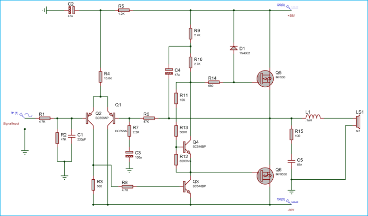 50 watt power amplifier circuit diagram using mosfets50 watt power amplifier using mosfets