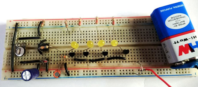 Bike/Car Turning Signal Indicator Circuit using 555 Timer IC