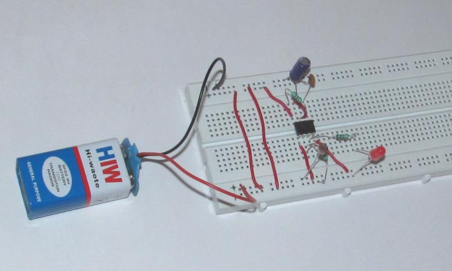 Simple LDR Circuit Diagram for Darkness Detecting LED using 555 Timer IC