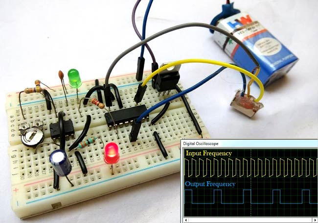 Frequency Divider Circuit Diagram using 555 Timer and CD4017