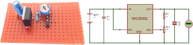 High Current Low Dropout Voltage regulator Circuit using MIC29302