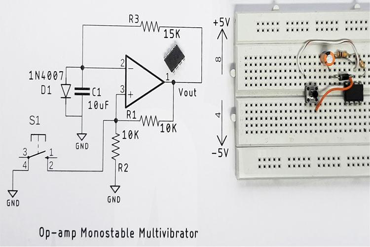 Monostable Multivibrator Circuit using Op-amp