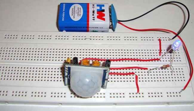 circuit diagram pir sensor based simple motion detector/sensor
