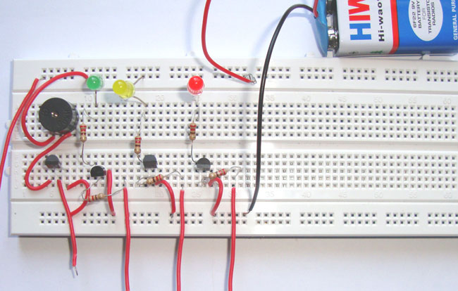 Simple Water Level Indicator Alarm Circuit Diagram on