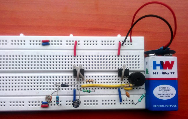 Fridge Door Alarm Circuit using 555 and LDR