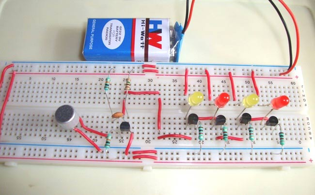 Simple Led Music Light on timer circuit diagram
