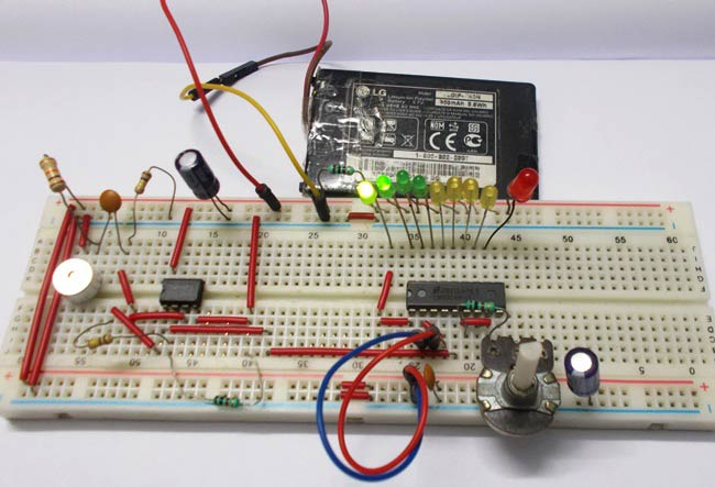 LED VU Meter using LM3914 & LED VU Meter Circuit Diagram using LM3914 and LM358
