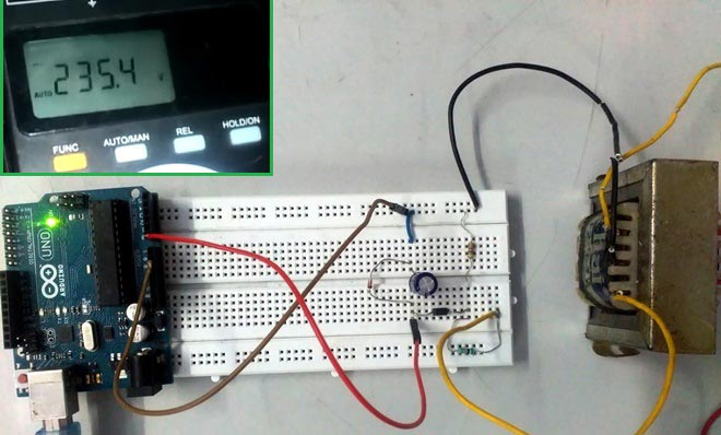 Arduino AC Voltmeter Project with Code and Circuit Diagram