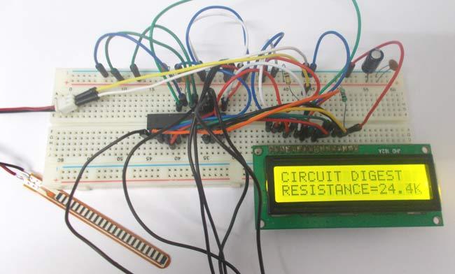 Flex sensor interfacing with AVR Microcontroller