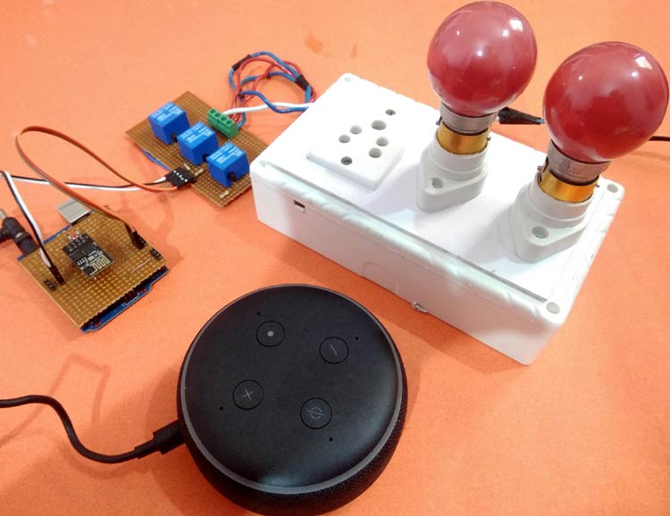 Alexa controlled Home Automation using Arduino and ESP-01 Wi-Fi Module