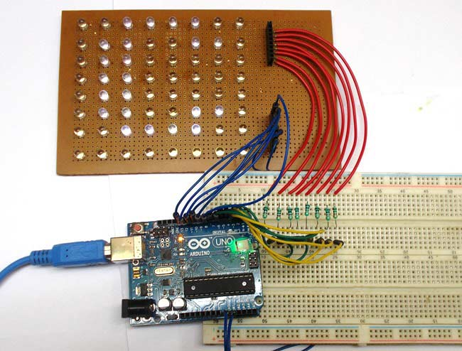 Scrolling Text Display on 8x8 LED Matrix using Arduino