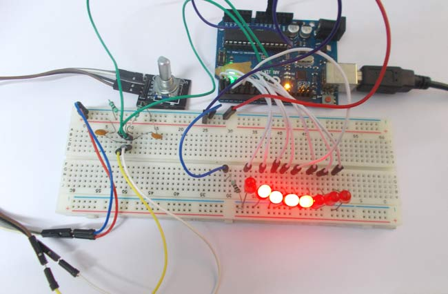 Arduino Led Chaser Using Rotary Encoder Circuit Diagram