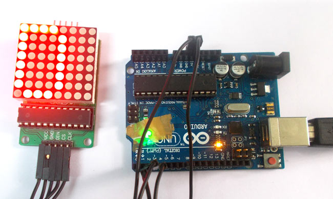 Arduino led matrix tutorial with circuit diagram code