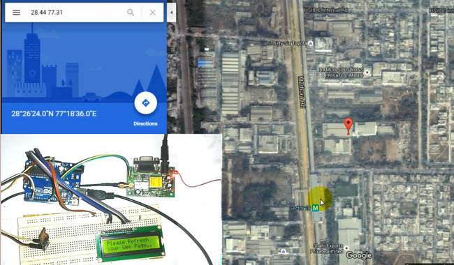 Arduino vehicle tracker using google maps gps and esp