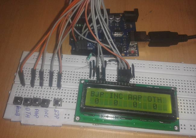 Electronic Voting Machine Using Arduino Circuit Diagram Code
