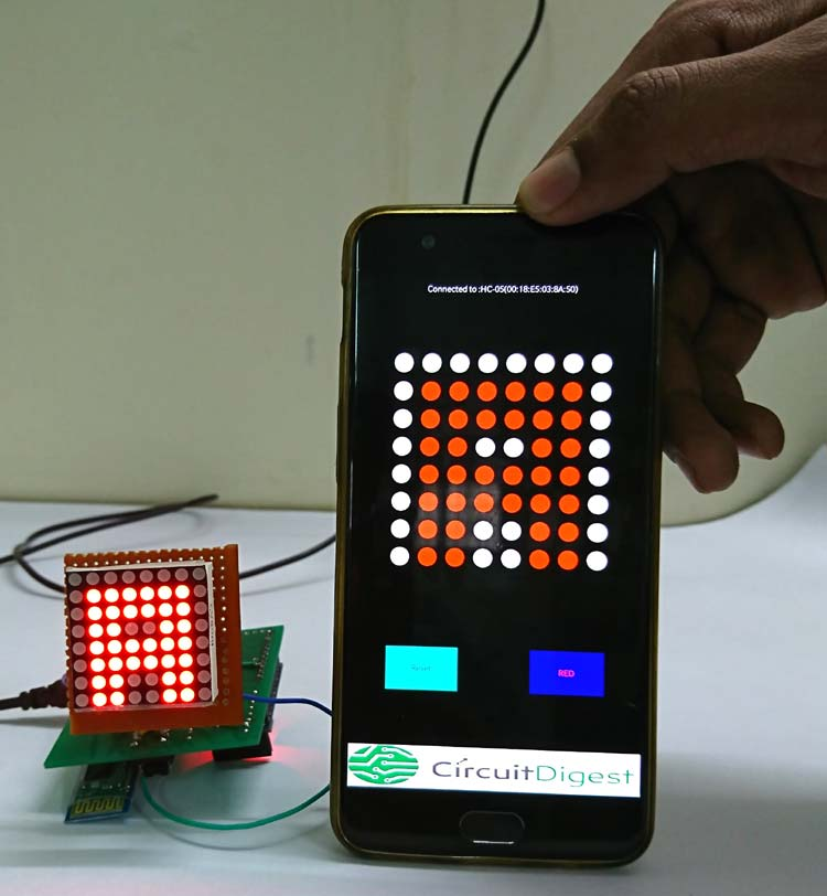 Bluetooth Controlled 8x8 LED Wireless Sign Board Display on PCB