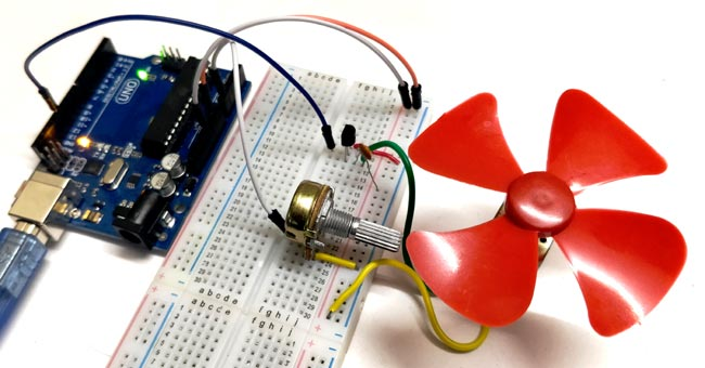 DC Motor Speed Control using Arduino and Potentiometer