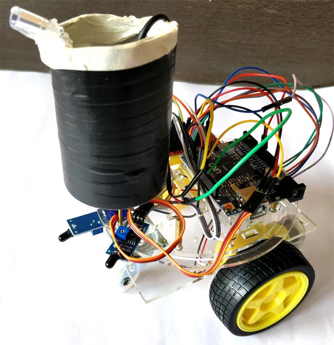 DIY Arduino Based Fire Fighting Robot Project with Code and Circuit