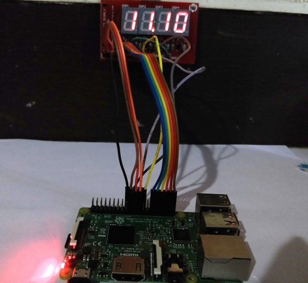 Raspberry Pi Clock using 4-Digit 7-Segment Display and Raspberry Pi