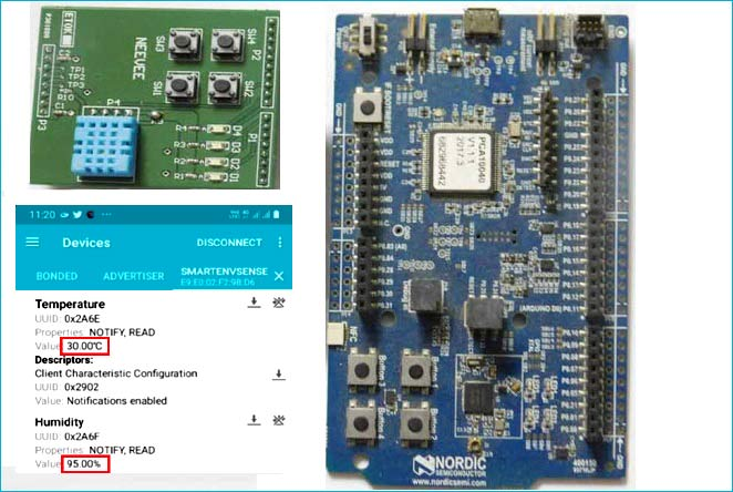 Nordic nRF52 Development Kit - Measuring Temperature and Humidity using Bluetooth Low Energy