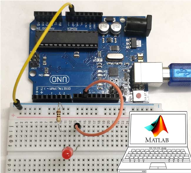 Interfacing Arduino with MATLAB and Blinking LED