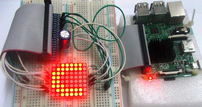 Control 8x8 LED Matrix Display with Raspberry Pi on