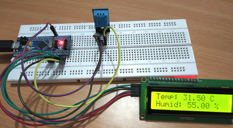 Interfacing DHT11 Temperature & Humidity Sensor with STM32F103C8