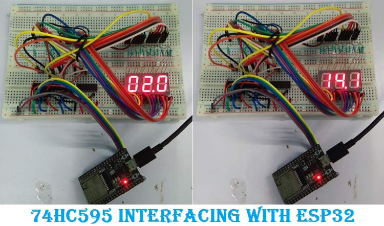 Interfacing ESP32 with 74HC595 for 7 Segment Display