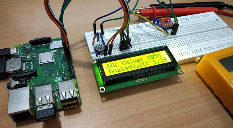 Raspberry Pi MCP4725 DAC Module Circuit Diagram Connections